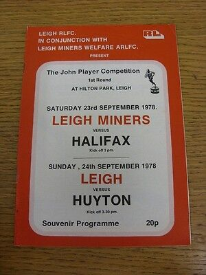 23/09/1978 Leigh Miners v Halifax & 24/09/1978 Leigh v Huyton [John Player Troph