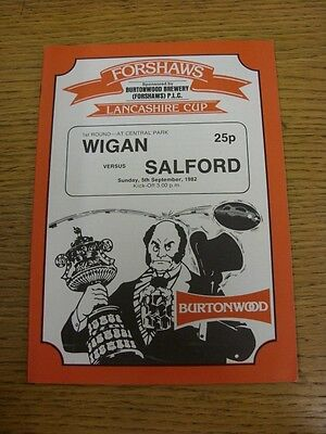 05/09/1982 Wigan v Salford [Lancashire Cup] Rugby League Official Programme (the
