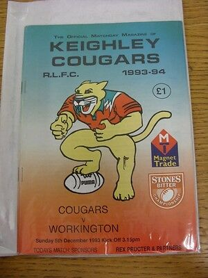 05/12/1993 Keighley Cougars v Workington Town [Stones Bitter Championship] Rugby