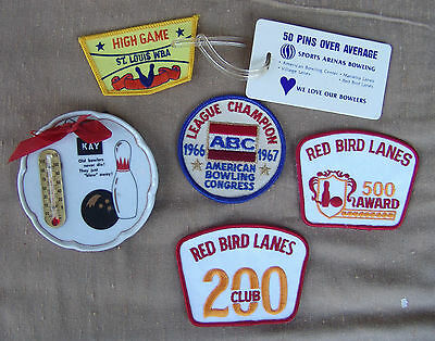Bowling Patches Badge Thermometer Plaque St. Louis Red Bird Lanes Vintage 1960's