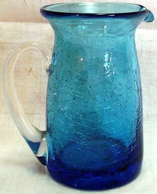 "Vintage 3.75"" BLUE CRACKLE GLASS PITCHER Applied Clear Handle"
