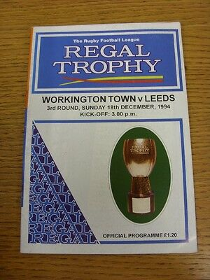 18/12/1994 Workington Town v Leeds [Regal Trophy] Rugby League Official Programm