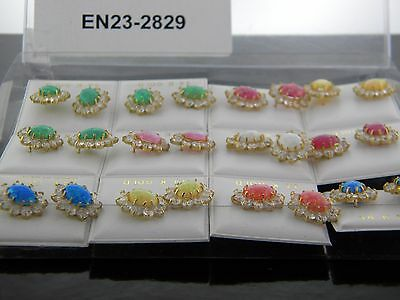 Wholesale 12 Pairs Assorted 14K Yellow Gold Colored Opal And CZ EN23-2829