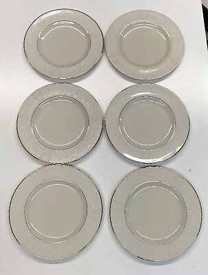 Belcrest Jacqueline Fine China 6 Dinner Plates white with silver trim