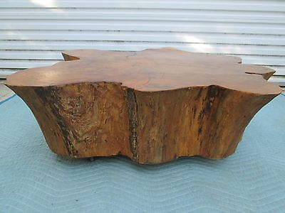 """10 3/4"""" Thick Free Form Tree Trunk Rolling Cocktail Table Incredible Detail !!!"""