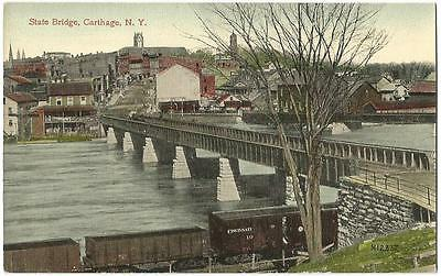 Carthage (Wilna) New York NY (Jefferson County) Town View & State Bridge c.1908
