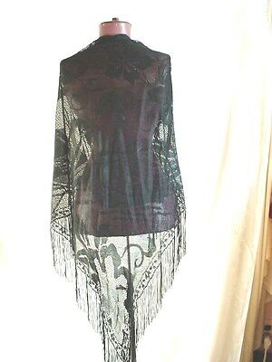 Vtg Black Lace Shawl with Long Fringe Swan Design Triangle 67 inch A168
