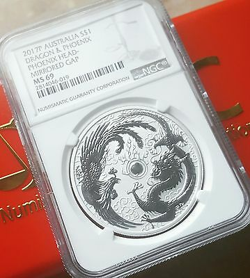 RARE MINT ERROR 2017 P Australia Dragon and Phoenix 1oz Silver Coin NGC MS69