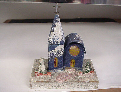 Vintage The Dolly Toy Co. Cardboard Blue Christmas Church