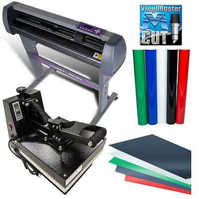 "BUNDLE: 28"" MH Vinyl Cutter,15""x15"" Digital Heat Press Machine, HTV, Sign Vinyl"