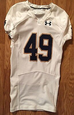 Notre Dame Football 2014 Under Armour Game Used Away Jersey #49