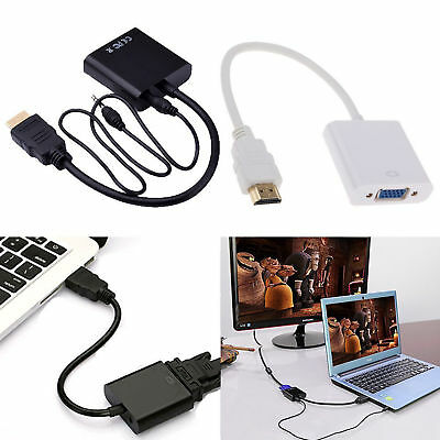 1080P HDMI Male to VGA Female Video Adapter Converter Cable + 3.5mm Audio