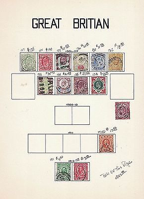 Great Britain Early 20th Century Used Collection on Card Stock Page - CV $256