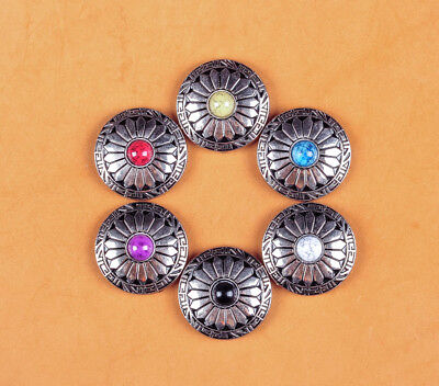 6X 30Mm Sun Flower 6 Colors Turquoise Sliver Screw Back Western Decor Conchos