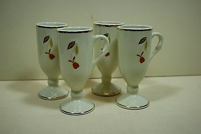 (4) Footed Espresso Cups in Autumn Leaf 1998 NALCC by Hall