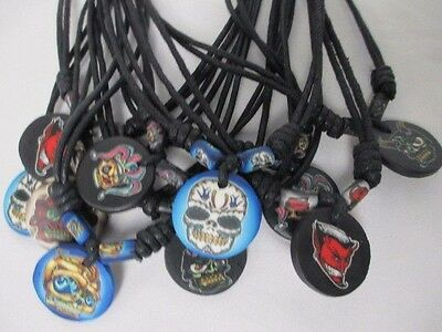 MONSTER NECKLACES lot of 10 Fimo Pendant Chokers WHOLESALE NEW NWT Black Cord