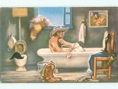 Unused Pre-1980 western signed CAT IN TOILET WHILE COWBOY TAKES BATH k6298