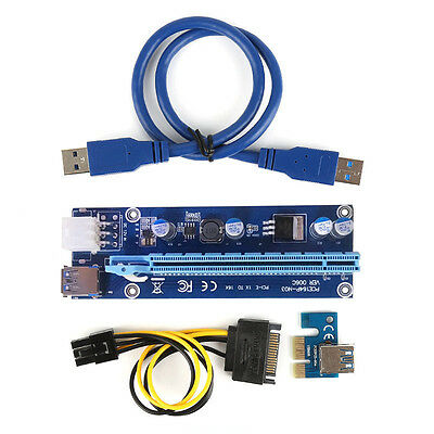 USB3.0 PCI-E PCI Express 1xto16x Extender Riser Card Adapter Powered Cable lot O
