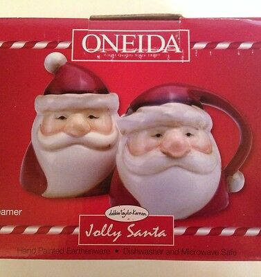 red & cream Oneida Christmas ceramic JOLLY SANTA CLAUS Creamer & Sugar w/Lid NIB