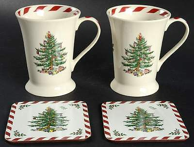Spode CHRISTMAS TREE-GREEN TRIM Set Of 2 Mugs & 2 Square Coasters 10501853