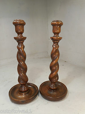 Vintage Pair Oak Barley Twist Candlesticks    ref 2355