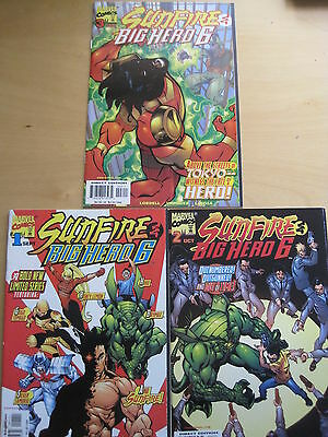 SUNFIRE & BIG HERO 6 : COMPLETE 3 ISSUE 1998 MARVEL SERIES. FN - NM. 1st PRINT