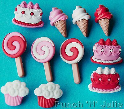 SWEET TOOTH - Ice Cream Lolly Cupcake Birthday Party Dress It Up Craft Buttons