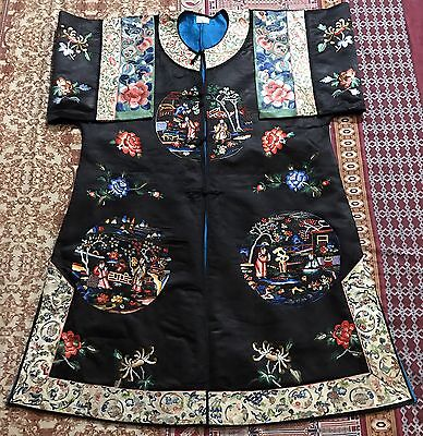 Antique Chinese Silk Robe Hand Embroidered With Sleeve Bands