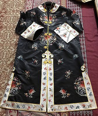 """Antique Chinese Hand Embroidered Robe Good Condition Chest 43"""" Lengths 40"""""""