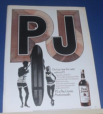 1970 PJ Paul Jones Whiskey Ad ~ guy/gal/surfboard