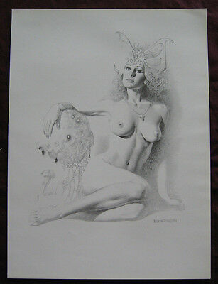 Boris Vallejo~Fantasy/Pin Up~Nude Woman with Butterfly headdress