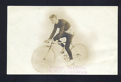 Rppc Frank Snyder World's Champion Bicycle Racer Racing Real Photo Postcard