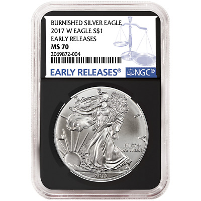 2017-W Burnished $1 American Silver Eagle NGC MS70 Blue ER Label Retro Core