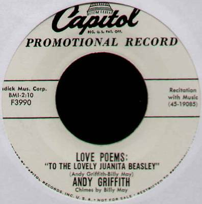 "Andy Griffith ~ To The Lovely Juanita Beasley ~ 1958 Us ""promo"" 7"" Single"