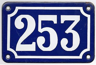 Old blue French house number 253 door gate plate plaque enamel steel metal sign