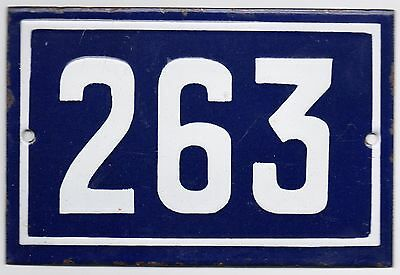Old blue French house number 263 door gate plate plaque enamel steel metal sign