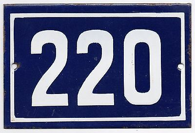 Old blue French house number 220 door gate plate plaque enamel metal sign steel