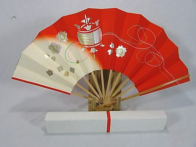 "Vintage Large 18 3/4"" Japanese Traditional Bamboo Fan~Orig. Box & Papers~Geisha"