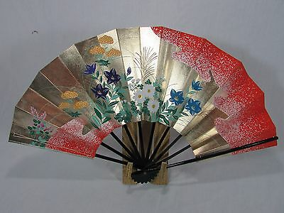 "Vintage Large 20"" Japanese Traditional Bamboo Fan~Geisha~Silver & Gold~Lacquer"
