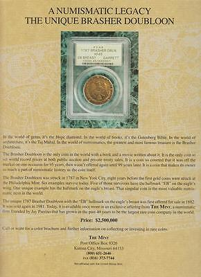 Brasher Doubloon 1787 PRINT AD 1995 Numismatic The Mint - KC MO Vintage Rare