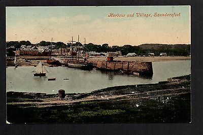 Saundersfoot - Harbour and Village - colour printed postcard