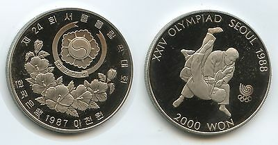 G7256 - Südkorea 2000 Won 1987 KM#51 Proof Olympia Seoul 1988 Tae Kwon Do