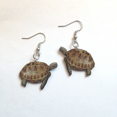 Russian Tortoise Earrings Handcrafted Plastic Made in USA