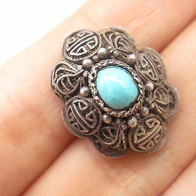 Antq China Sterling Silver Real Turquoise Gemstone Single Cufflink