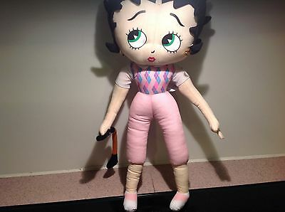 Betty Boop GOLFER with Club Rare 17 inch Soft Cloth Doll Kellytoy Collectible