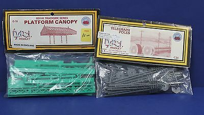 Lot of 2 Dapol OO HO Kits Platform Canopy Telegraph Poles England Plastic Sealed
