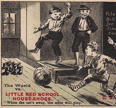 Little Red School House Shoes Bowling Globe Anchor IL old Advertising Trade Card