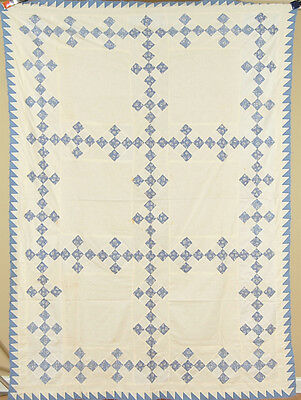 CLASSIC Vintage 30's Blue & White Double 9-Patch Antique Quilt Top ~SAWTOOTH BDR