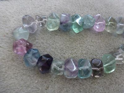 "Natural Large Smooth Faceted Fluorite Nugget Beads, 16"" Temporary Strand"