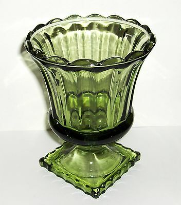 Vtg Pressed Glass Avocado Green Footed Pedestal Compote Candy Dish Bowl - Mint!